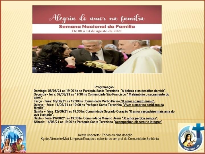 Semana Nacional da Fam铆lia tem in铆cio no pr贸ximo domingo